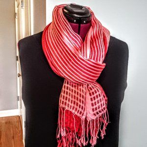 Pink & Red Ombre Silk Oblong Fringed Scarf/Wrap